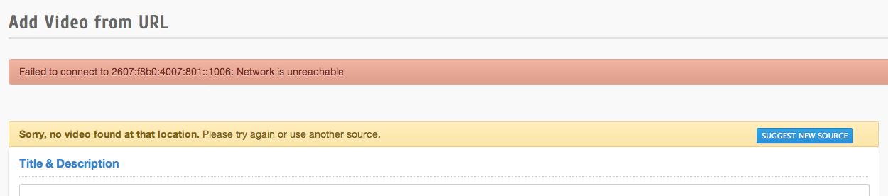 Youtube Error with IPv6